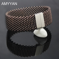 AMYYAN 22mm Wide Woven Mesh Bracelets Stainless Steel Chains Silver Color Metal Bracelet Bangle For Women