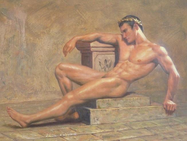 Nude male bear oil