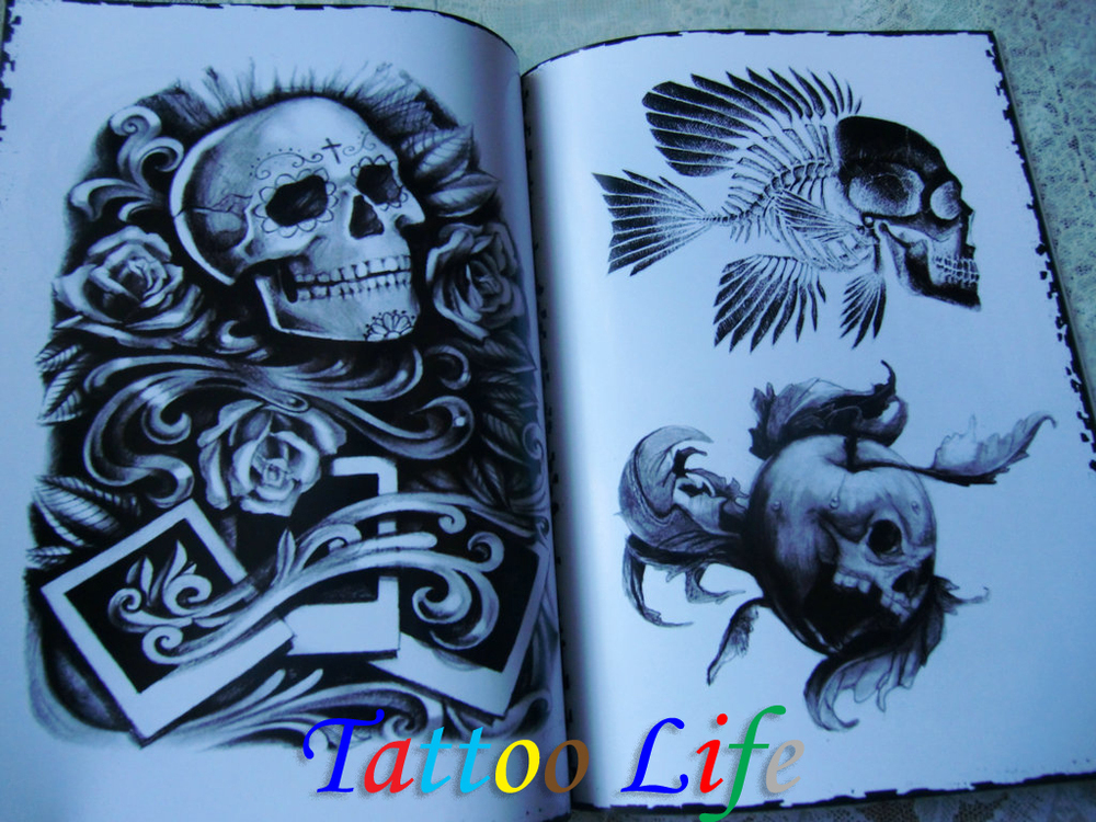 SKULL Tattoo Flash Designs Book Sketch 11\