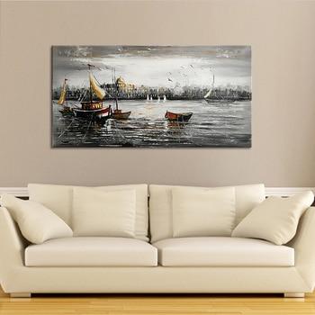 Oil painting simple marine landscape decorative painting landscape oil painting, high-end home decorative painting 3 фото