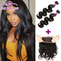 Pre Plucked 360 Frontal With Bundles Brazilian Virgin Hair Body Wave With Closure Wet And Wavy Lace Frontal Closure With Bundles