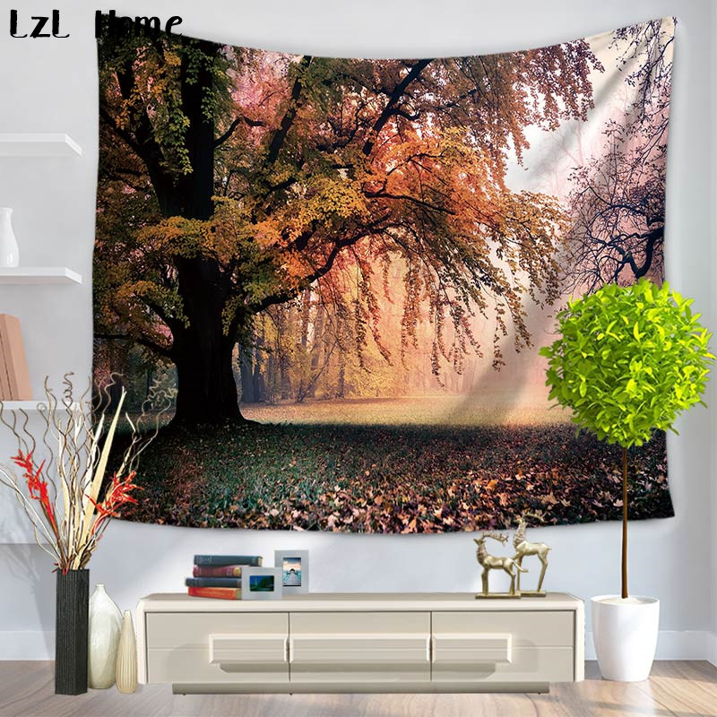 Forest Shower Curtain Sunset Moss Woods Trees Print for Bathroom