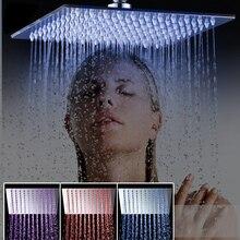 """Bad duschkopf Luxus-chrom-messing LED Quadrat Regen Duschkopf Top Über Dusche Sprayer Für 8 """"/10″/12 """"/16″/20 """"/24"""""""