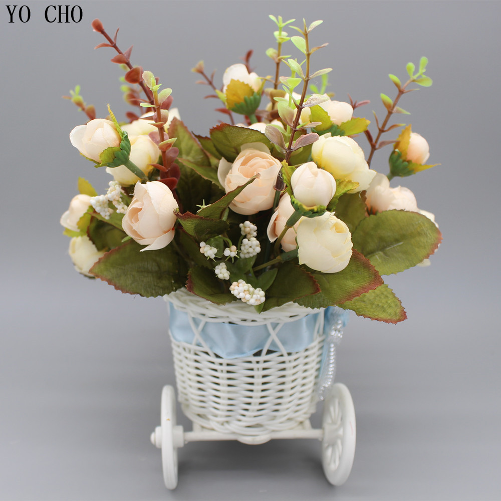Artificial peony bouquet bike vase plastic bicycle basket storage artificial peony bouquet bike vase plastic bicycle basket storage container wedding silk rose diy christmas decorations for home in artificial dried reviewsmspy