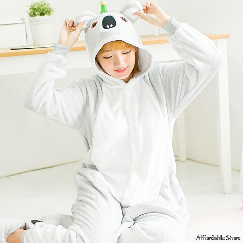 Koala piece body pajamas animal winter flannel cartoon cute gray autumn couple performance cost cosplay for men and women