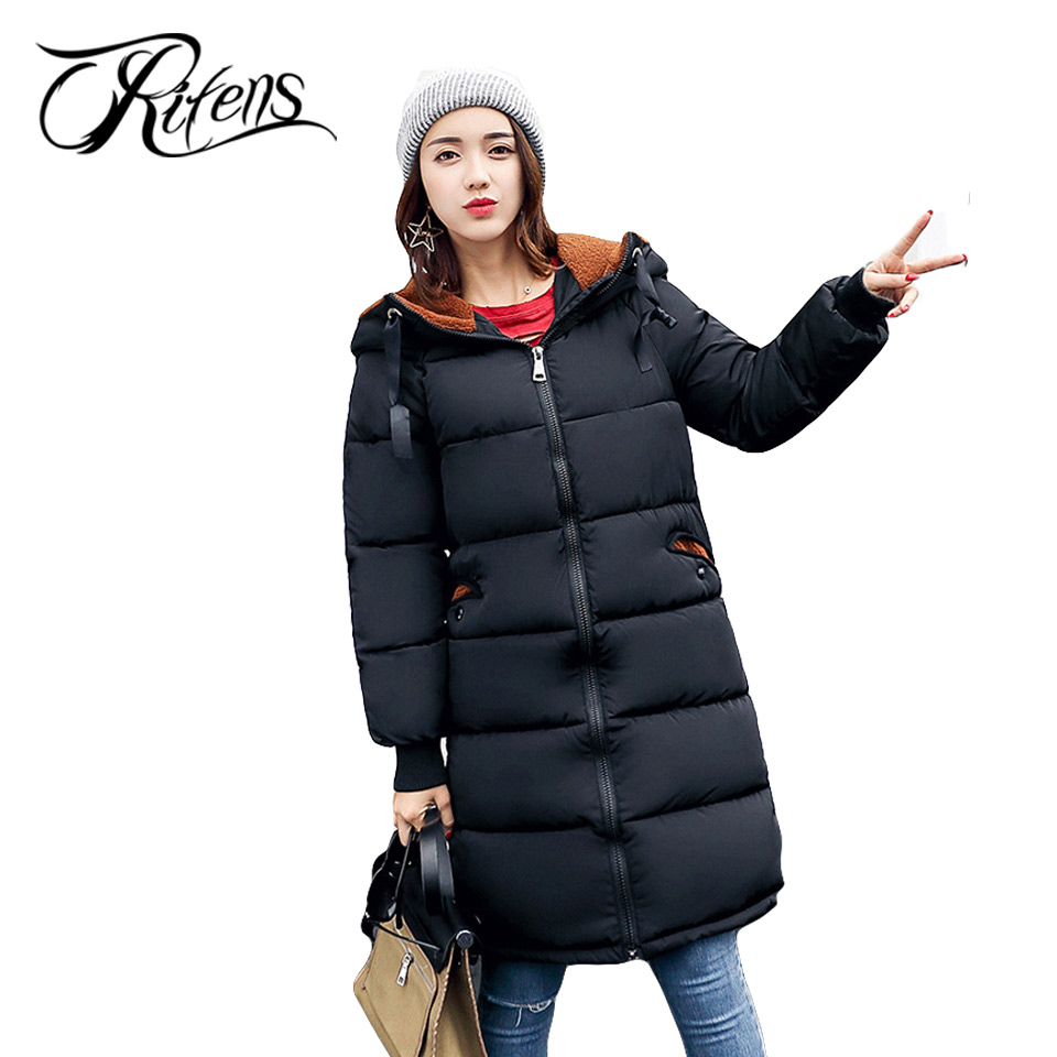 Urifens New Winter  2017 Down Cotton Padded Jacket Women Slim Thick Jacket Hooded Camouflage Zipper Solid Long Coat LY02 thick hooded down jacket women slim print long winter coat camouflage y160