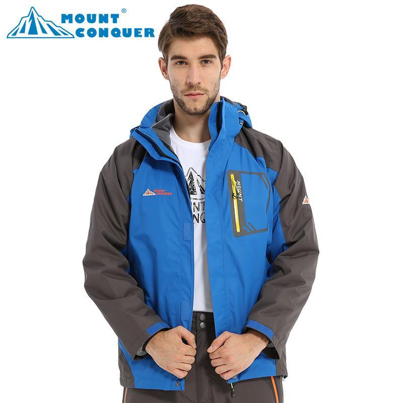 Vente en gros-hiver imperméable coupe-vent hommes en plein air 2in1 veste de Ski respirant Snowboard veste mâle en plein air randonnée Camping manteau