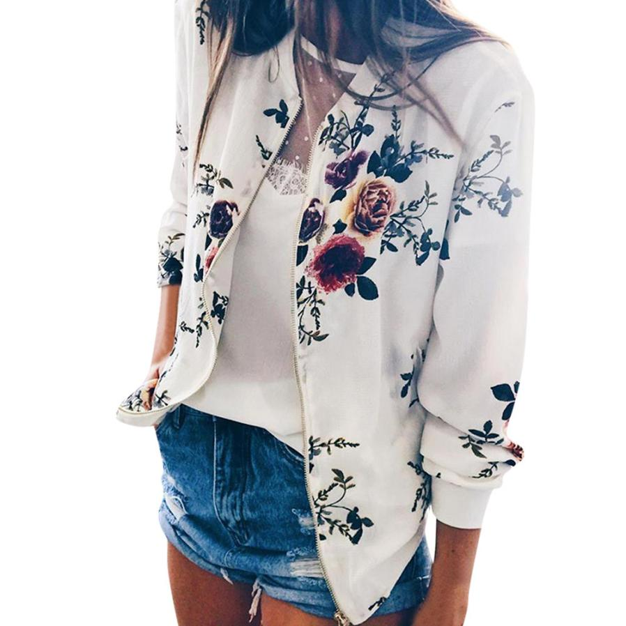 Outerwear & Coats Jackets Womens Ladies Retro Floral Zipper Up Bomber Outwear Casual coats and jackets women 18AUG10 15