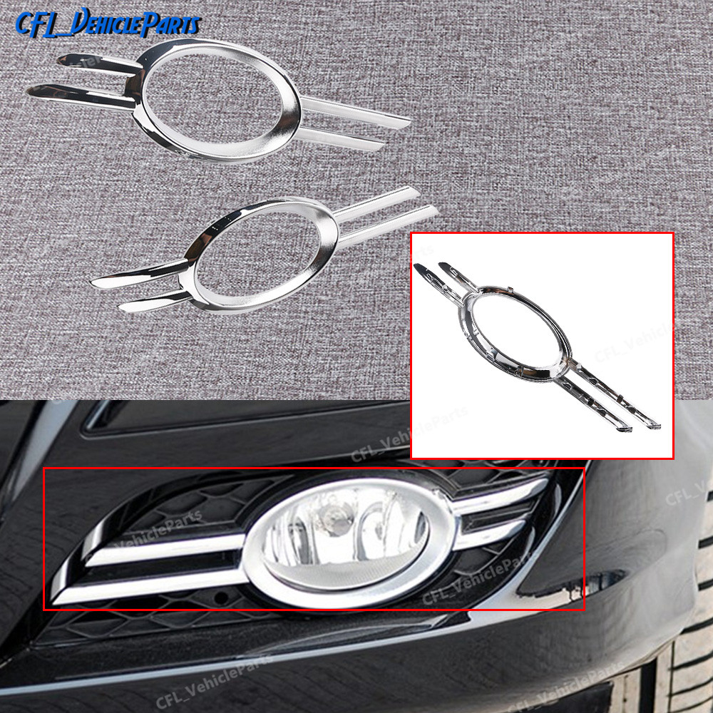 Pair Left Right Front Foglamp Fog Light Chrome Grill Trim 2118851174 2118851274 For <font><b>Mercedes</b></font>-<font><b>Benz</b></font> 2007 2008 2009 W211 E350 E550 image