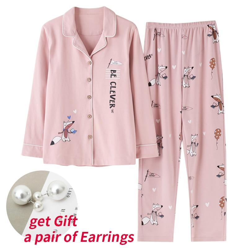 Pajamas     Sets   Spring Autumn Pink Cartoon Fox Women Long Sleeve Sleepwear Suit Home Women Gift Female Sleepwear Pijama Mujer Femme