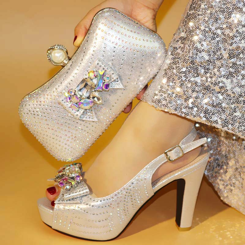 2019 New style Elegant silver lady thin high heel sandal shoe and purse bag set nice matching for evening dress heel height 11cm