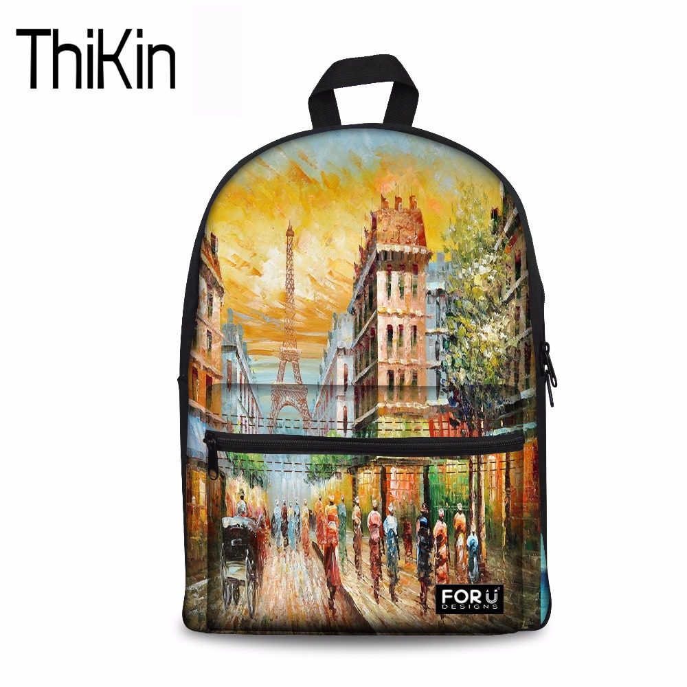 THIKIN Canvas School Bag Backpack 3D Eiffel Tower Printing Women Backpacks for Adolescent Girl Female Back Pack Casual Rucksack