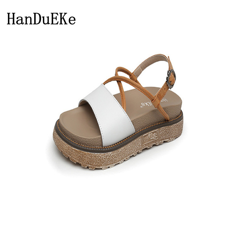 HanDuEKe Buckle Flat leather Sandals Women Flat Platform Sandals Casual Fashion Ladies Sandals Brand Large Size Sandal Women цена и фото