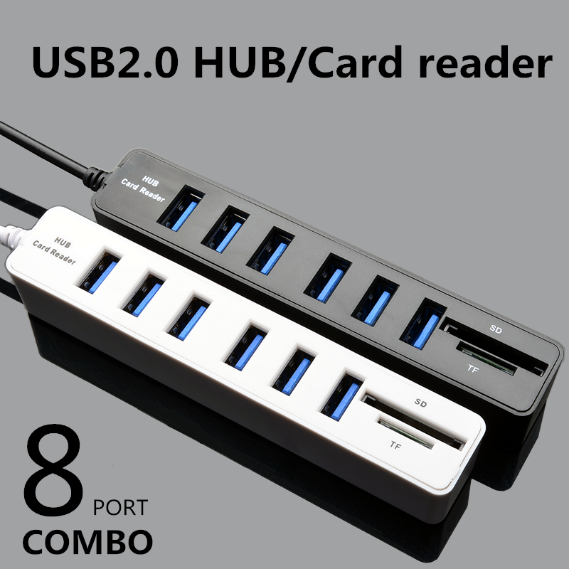 2 IN 1 USB 2.0 Combo 6 Ports USB 2.0 + 2 Ports SD (Micro SD)/ T-Flash Adapter For Macbook PC Laptop Computer USB Adapter ...