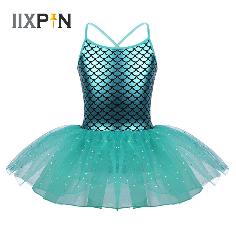 IIXPIN Girls Ballet Tutu Dress Glitter Mermaid Costume Spaghetti Shoulder Straps Scales Pattern Printed Dance Gymnastics Leotard