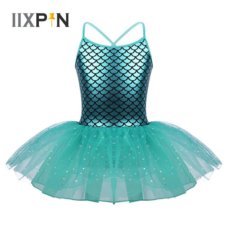 IIXPIN Girls Ballet Tutu Dress Glitter Mermaid Costume Spaghetti Shoulder Straps Scales Pattern Printed Dance Gymnastics Leotard