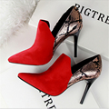 2017 autumn New High-heeled Shoes Woman Pumps snake-print high heels sexy Pointed Toe thin heels shoes Free shipping