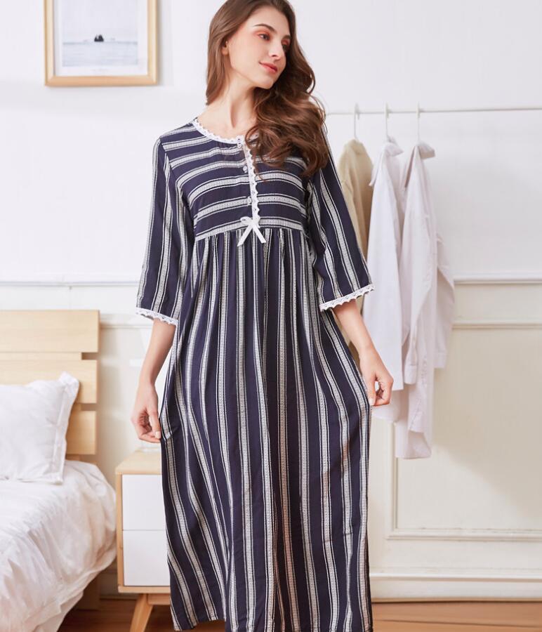 Women Long Loose Casual Cotton Sleepwear Soft Night Dress Pajamas Women's Night Gowns Robes RB286