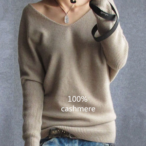 2019 Spring autumn cashmere sweaters women fashion sexy v-neck sweater loose 100% wool sweater batwing sleeve plus size pullover(China)