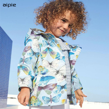 New Brand Fashion Children Girls Trench European and American Style Butterfly Pr