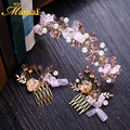 New Arrivals Pink Lace Crystal Hairband and Hair Combs Girls Pearls Jewelry Headband Bride Flower Crown Wedding Hair Jewelry 427