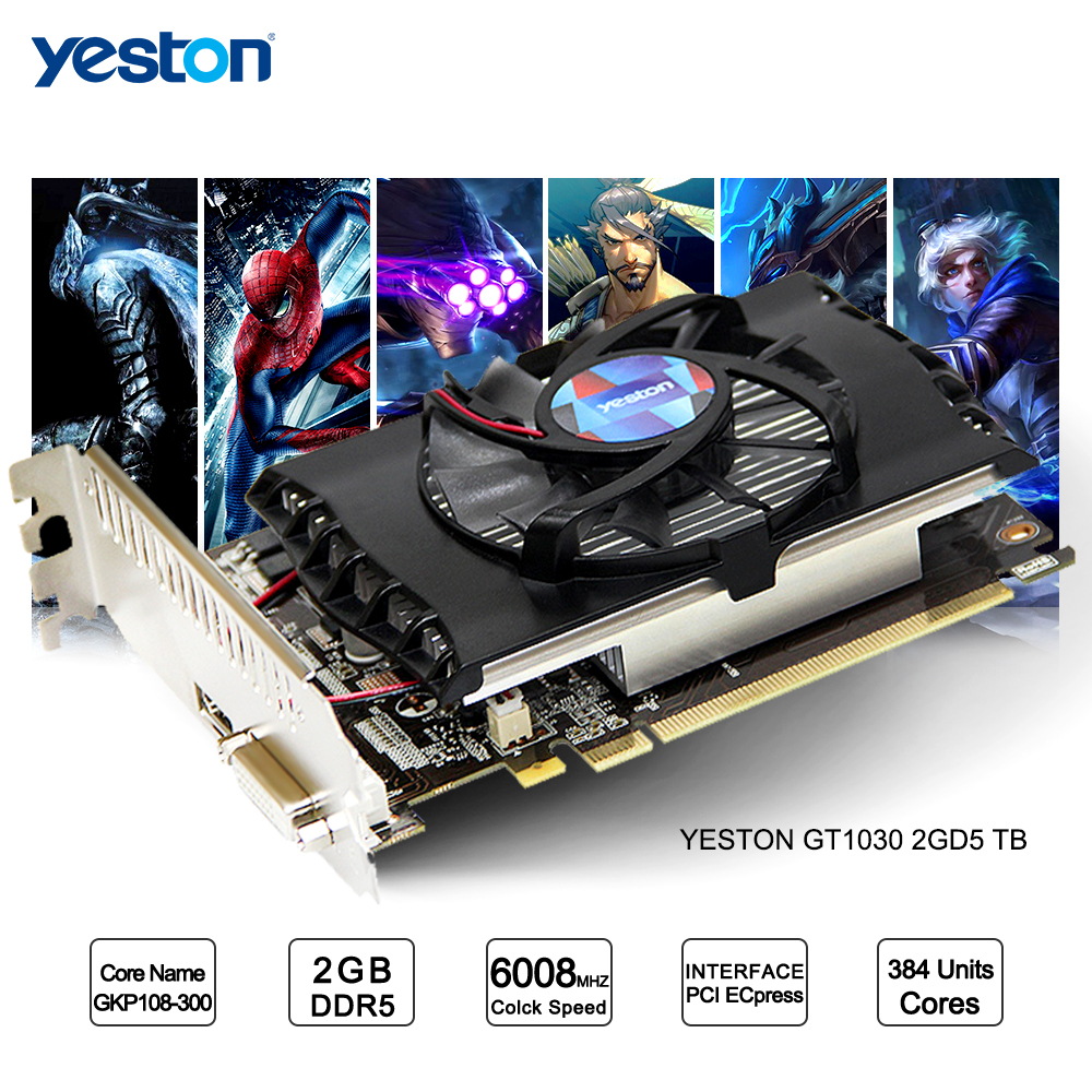 Yeston GeForce GT 1030 GPU 2GB GDDR5 64 bit Gaming Desktop computer PC Video Graphics Cards supportYeston GeForce GT 1030 GPU 2GB GDDR5 64 bit Gaming Desktop computer PC Video Graphics Cards support