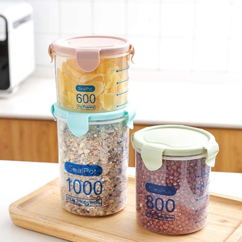 العملي المنزلية البلاستيك أوعية الحفظ زجاجة تخزين الغذاء آمنة غير سامة مانعة للتسرب مختومة صندوق تخزين المطبخ