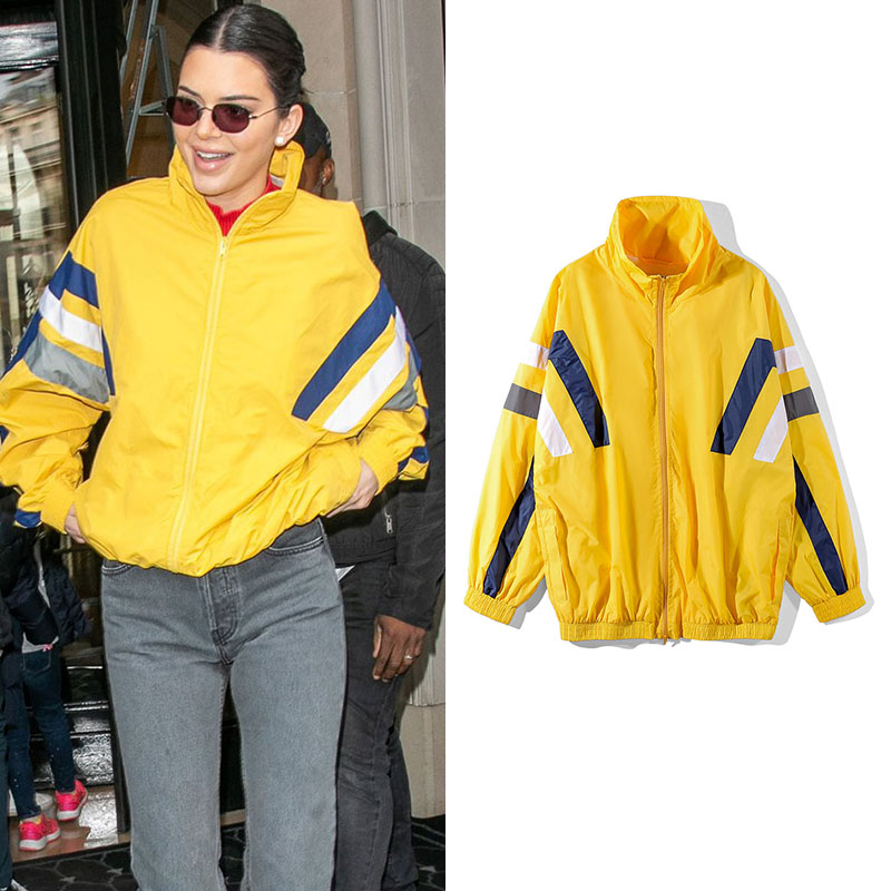 Kendall Jenner Colorblocked Striped   Trench   Autumn and Winter Streetwear Super Mesh Loose Windbreaker Tide Men and Women