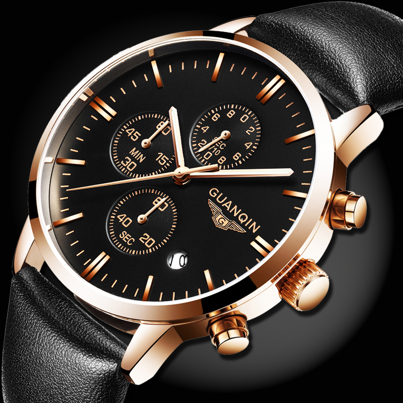 GUANQIN Quartz Watch Mens Watches Top Brand Luxury Chronograph Clock Men Sport Waterproof Leather Wristwatch relogio masculino montre homme guanqin watches men sport casual leather quartz watch mens luxury top brand waterproof wristwatch relogio masculino