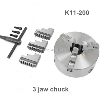 "New CNC LATHE Chuck 3 Jaw Self-Centering 8"" K11-200 200mm 3 Jaws Chuck for Drilling Milling Machine with Wrench and Screws"