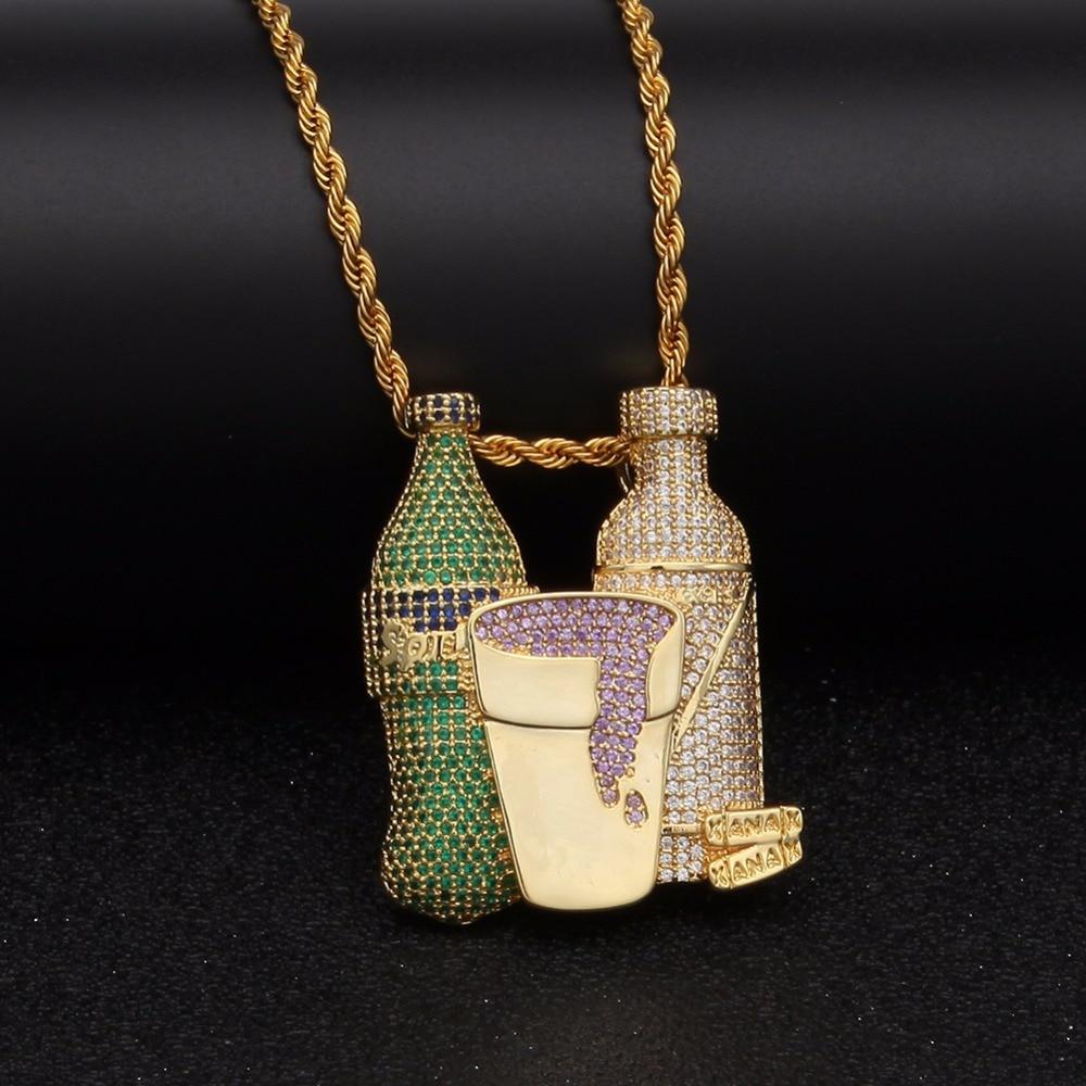 Gold Zircon Rhinestone Sprite Beer Bottle Purple Cup Necklaces Men Women Bling Jewelry Chains Hip Hop Combo Icecream Pendants