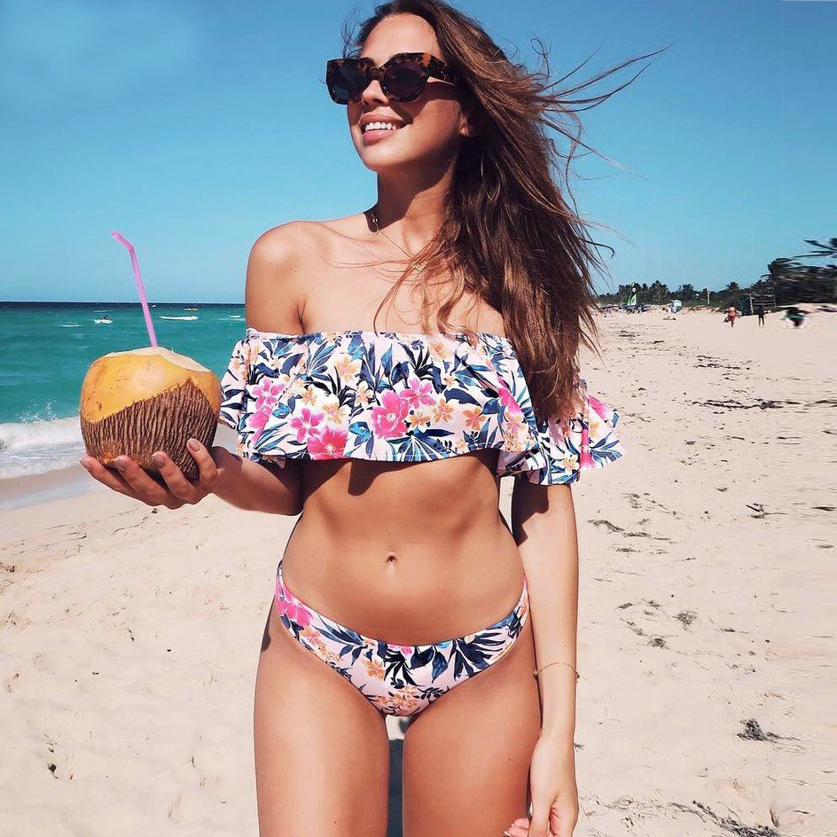 Sexy Ruffle Bandeau Bikinis Women Swimsuit 2018 Print Swimwear Brazilian Bikini Set Push Up Bathing Suits Beach Wear Biquini hot sale red mini r
