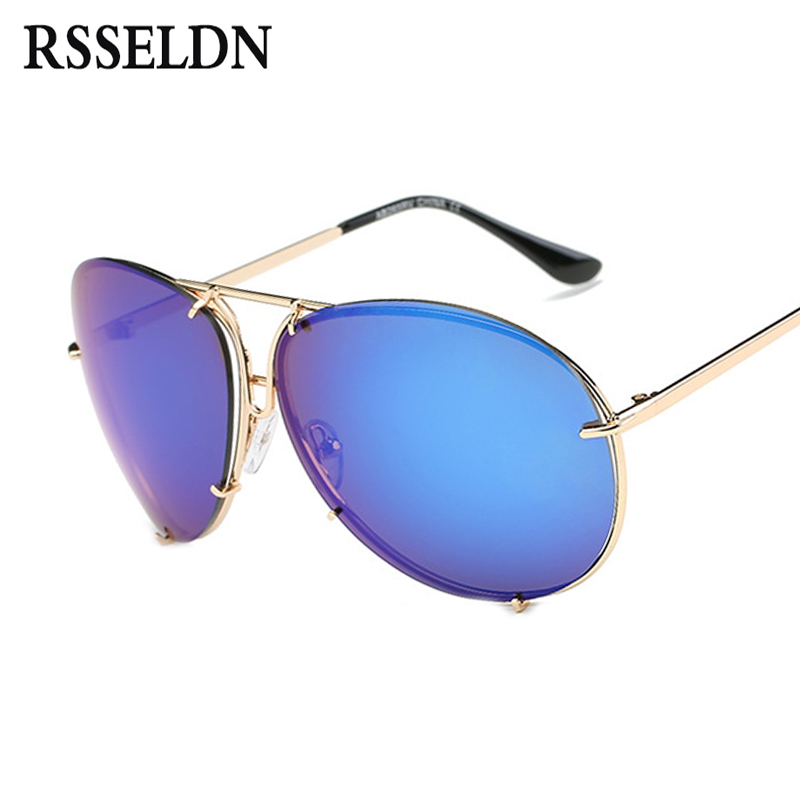RSSELDN 2018 Oversize Oval Sunglasses Women Brand Designer Men Sunglasses Mirror Unique Female Sun Glasses UV400