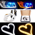 Waterproof 2x 30cm DC 12V DRL LED Strip White Amber Tube Switchback Headlight For Audi Style