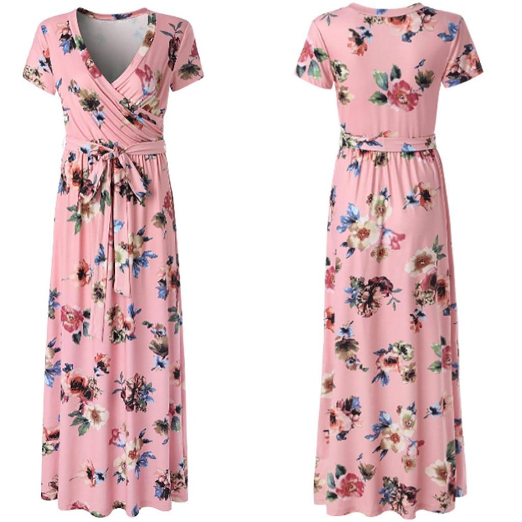 Women Sexy Short Sleeve V-Neck Flower Print Evening Party   Prom   Swing Long   Dress   W430