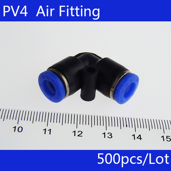 Free shipping HIGH QUALITY 500pcs 4mm ID Pneumatic Connectors Elbow Fitting Equal L-shape PV4