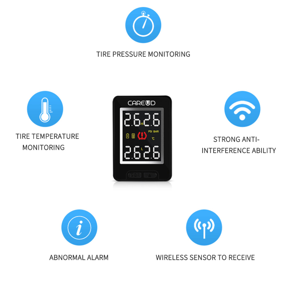 CAREUD U912 Car Wireless TPMS Tire Pressure Monitoring System with 4 Built  in Sensors LCD Display Embedded Monitor For Honda-in Tire Pressure Alarm