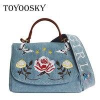 TOYOOSKY Summer Women Handbag Wide Shoulder Girdle Crossbody Bag Denim Embroidery Messenger Bag Jeans Flower Tote