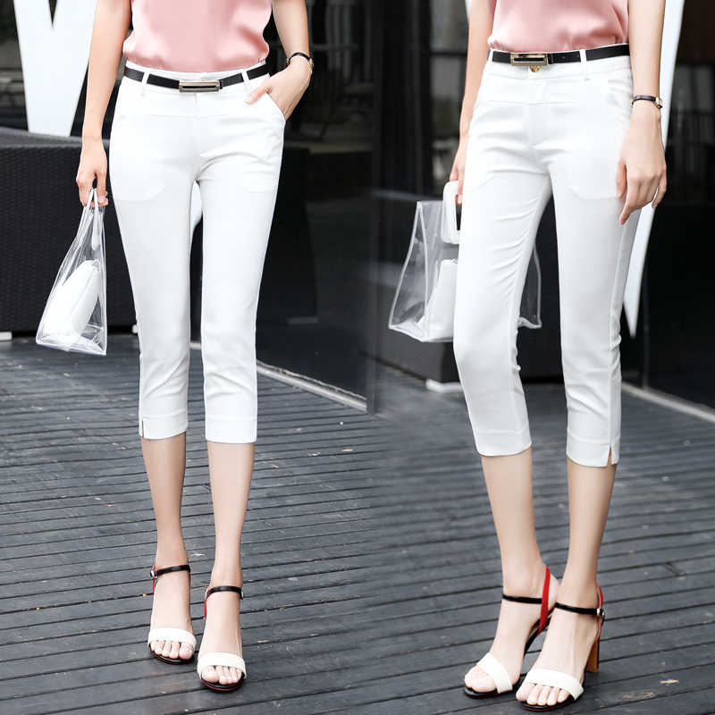 Quần Nữ Mùa Hè Skinny Áo Lót Crop Quần Cao Cấp Công Sở Nữ Slim Capris Pantalon Femme Người Phụ Nữ Ôm Body Bút Chì Quần