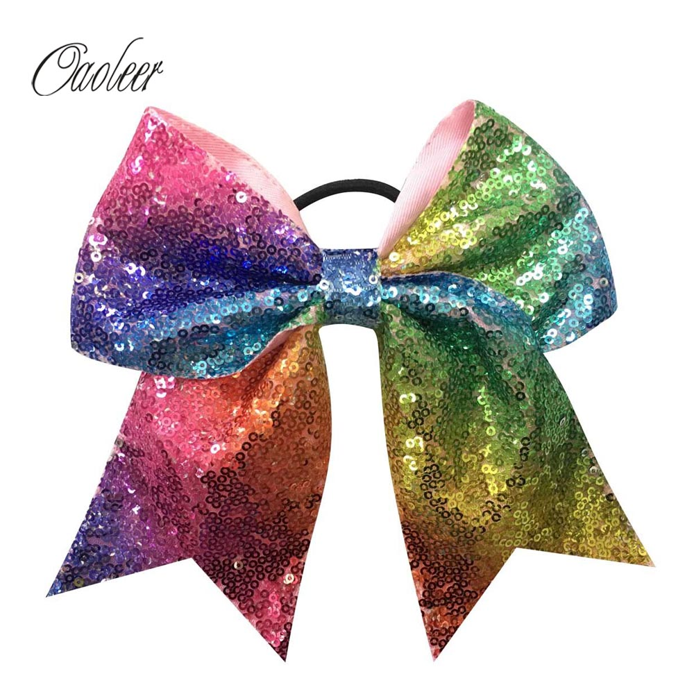 5pcs/lot Rainbow Sequin Cheer Bow With Elastic Band For Girls Handmade Sequin Cheerleding hair bows Kids Hair Accessories metting joura vintage bohemian ethnic tribal flower print stone handmade elastic headband hair band design hair accessories