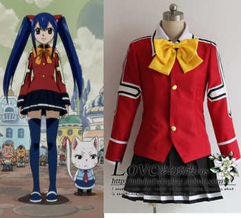Fairy Tail Wendy Marvell Cosplay Costume School Uniform tops+skirt+tie free shipping - Category 🛒 All Category