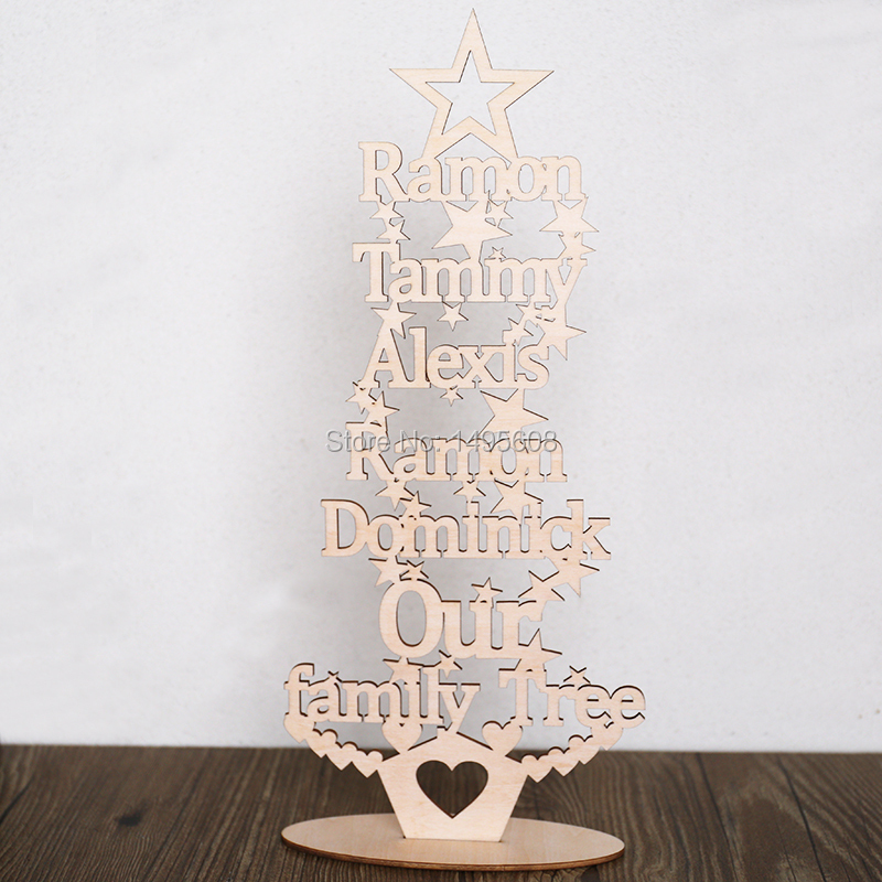 Personalised christmas Our family tree any words Free standing plaque ...