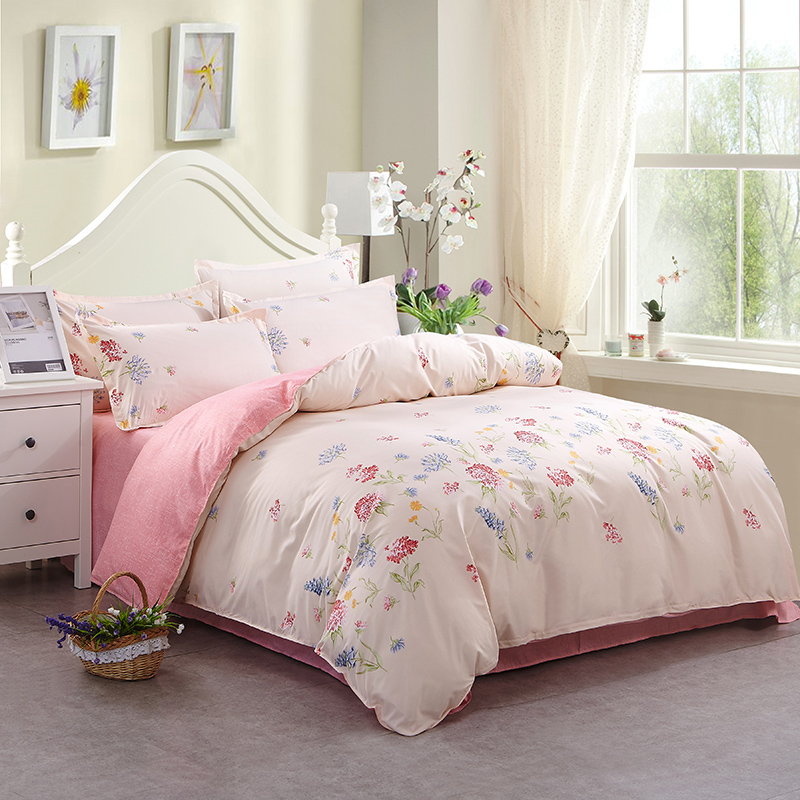 peony flower pattern soft polyester duvet covers sets pink white color naturally fresh style adults girl bedding set 4pcs