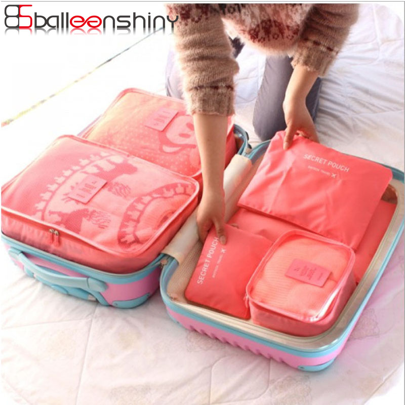 BalleenShiny 6pcs families Travel Clothes Underwear Socks Storage Bags Packing Cube Lugg ...