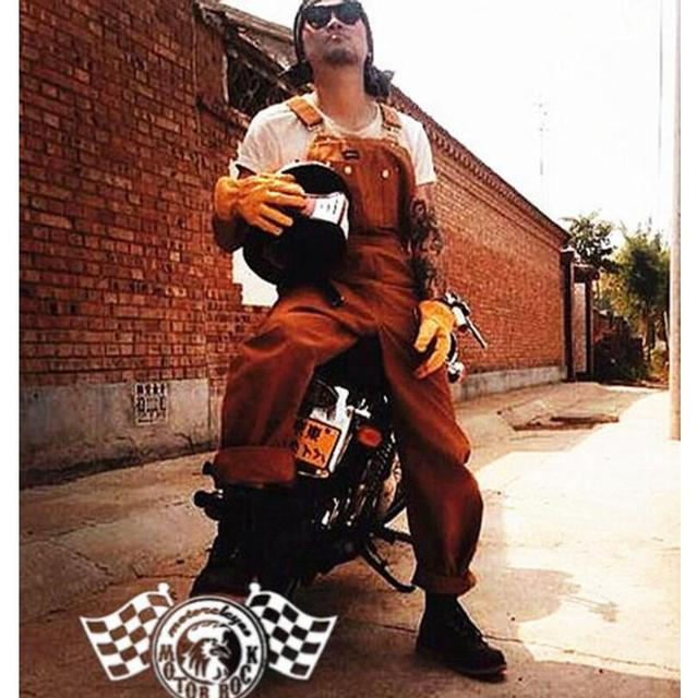 Nouveau 2017 Hommes de vêtements Vintage moto bretelles salopette bib  pantalon bretelles pantalon d une 00337b156c4