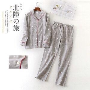 Image 5 - Women Autumn&winter Pure Cotton Pajama Suit Long Sleeve Lovely Casual Plaid Korean Loose Cartoon Home Suit Plus Size Pajamas Set