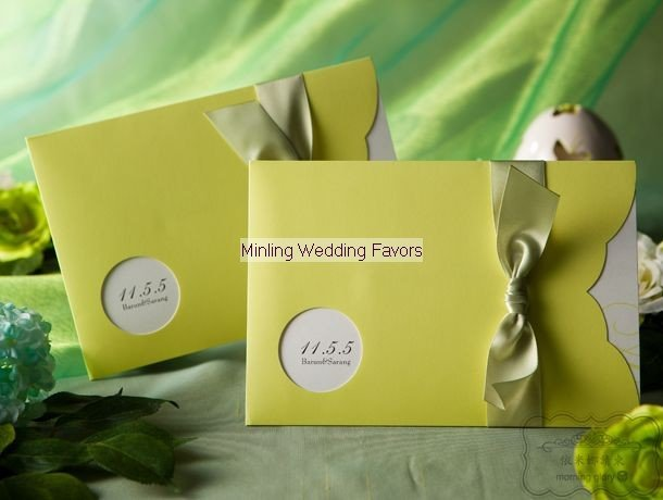 free shipping 100pcs lot light bean green wedding invitation cards