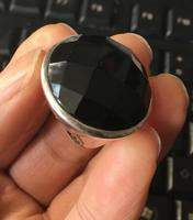 Rare Natural Black Agate Gem 24mm 925 Sterling Silver Jewelry Ring Size 7 8 9 10