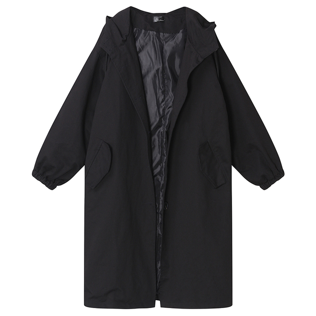 Womens Long Black Trench Windbreaker Loose Fit