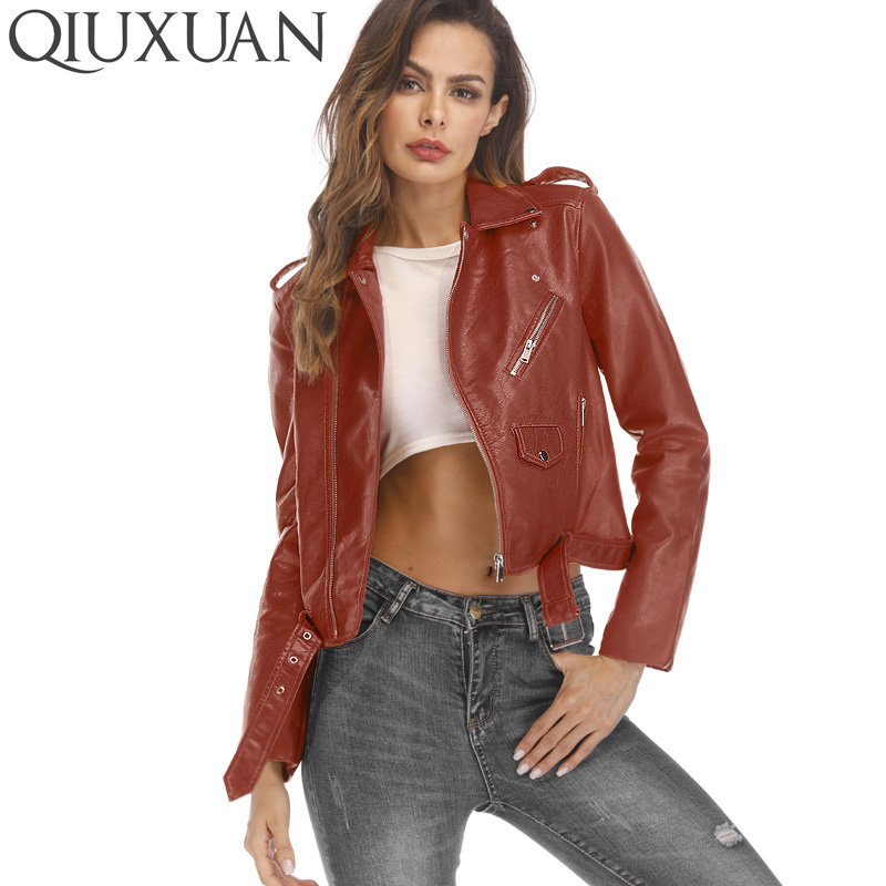 QIUXUAN Women PU   Leather   Jacket Short Streetwear Coat Fashion Spring Autumn Women Overcoat Locomotive Jackets Female Tops